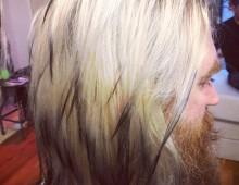 ultra fine black edging on blonde hair