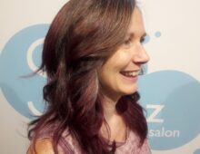 Natural color melting to red violet and textured layers