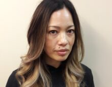 Ombre color and haircut