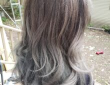 Women's cut and color – Brown to gray color melt
