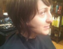 Women's haircut and color before and after