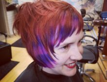Accent color stripes and haircut