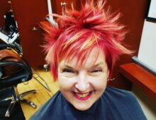 Bright color and textured haircut